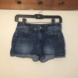 Express Dark-Wash High-Waisted Denim Shorts